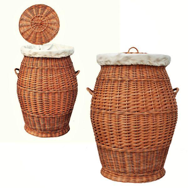 Großer Wäschekorb aus Weide (70 cm)