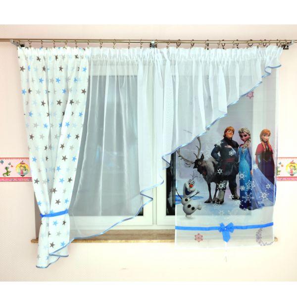Scheibengardine Vorhang Eiskönigin Blau weiß
