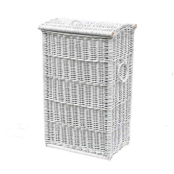 Weißer Wäschekorb aus Weide (schmal)
