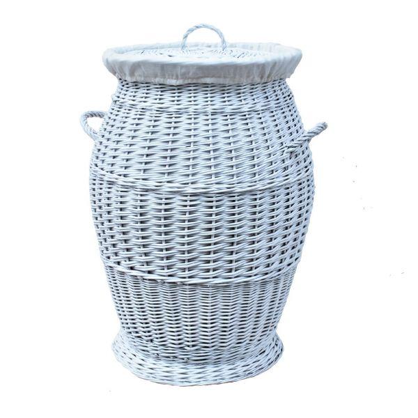 Weißer Wäschekorb aus Weide (70 cm)