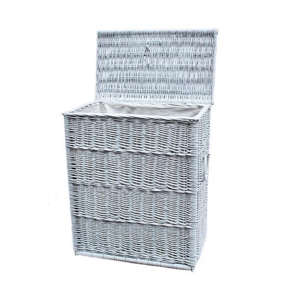 Weißer Wäschekorb aus Weide